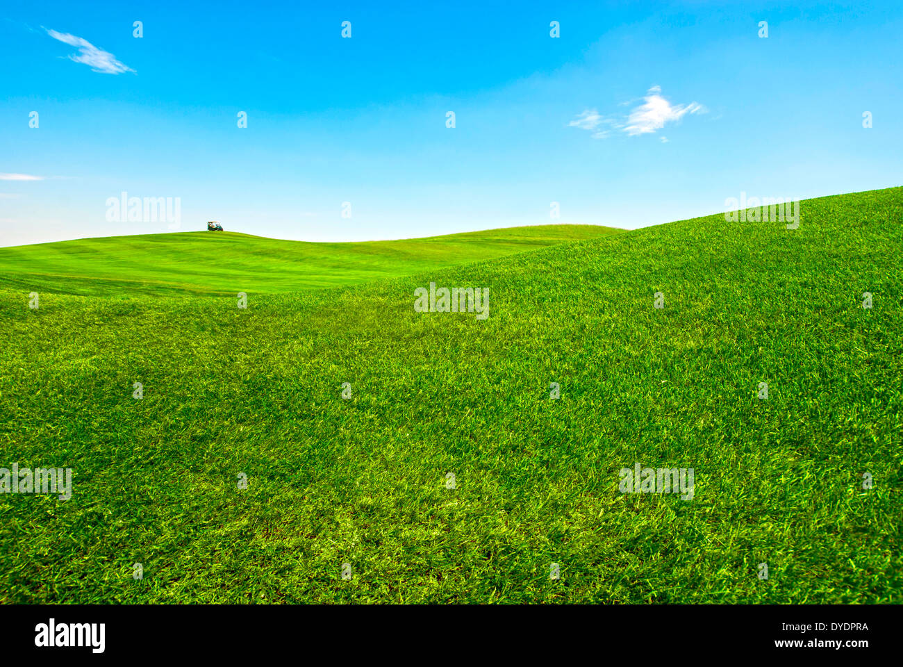 Golf course on a very nice day, with a small golf cart - Stock Image
