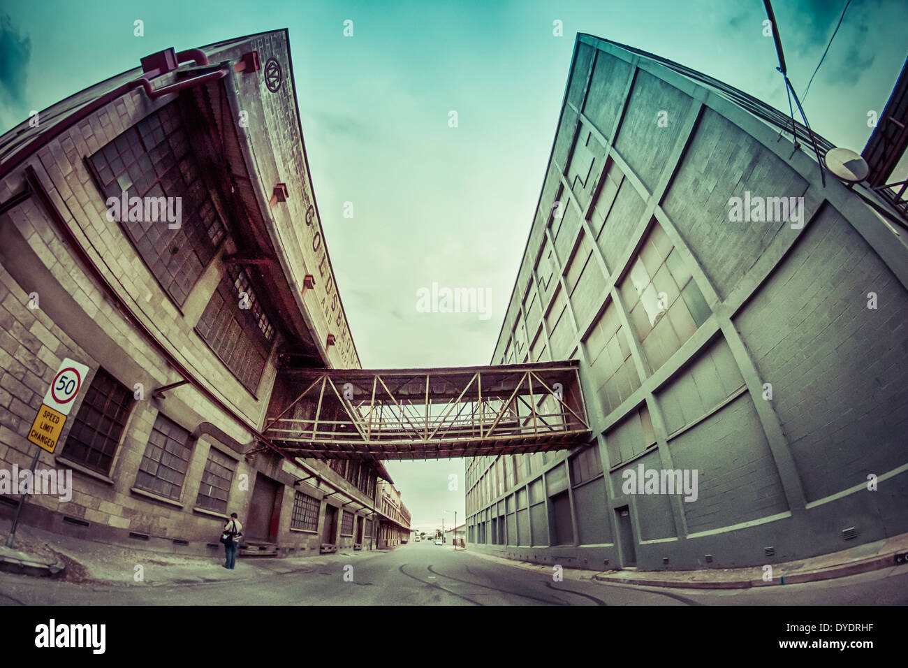 A fish-eye perspective of old warehouses in Port Adelaide, Australia. - Stock Image