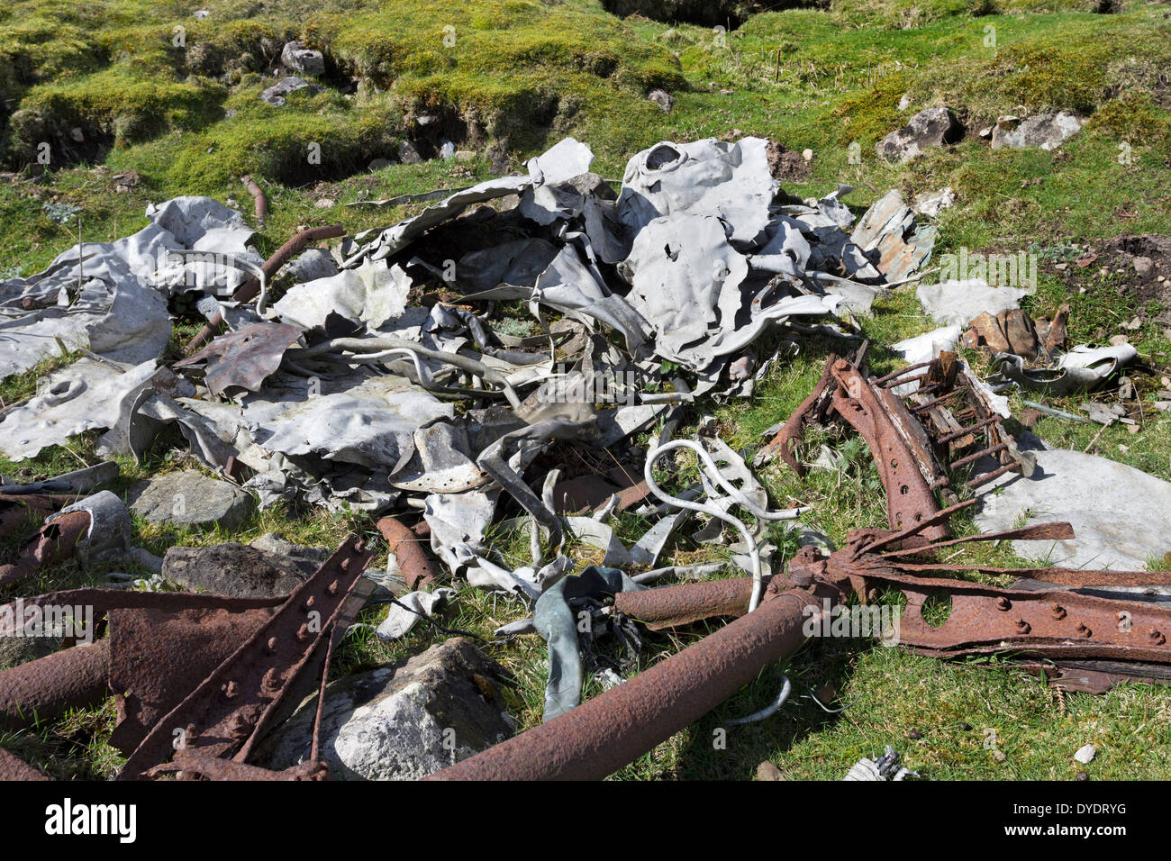 Wreckage from a De Havilland Mosquito F.B Mk.VI TA525 Which Crashed in Cloud 14th February 1946 Castle Bolton Yorkshire Dales UK - Stock Image