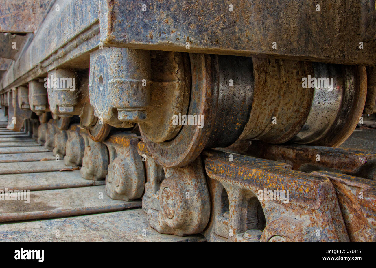 Closeup of continuous track tread on a bulldozer - Stock Image