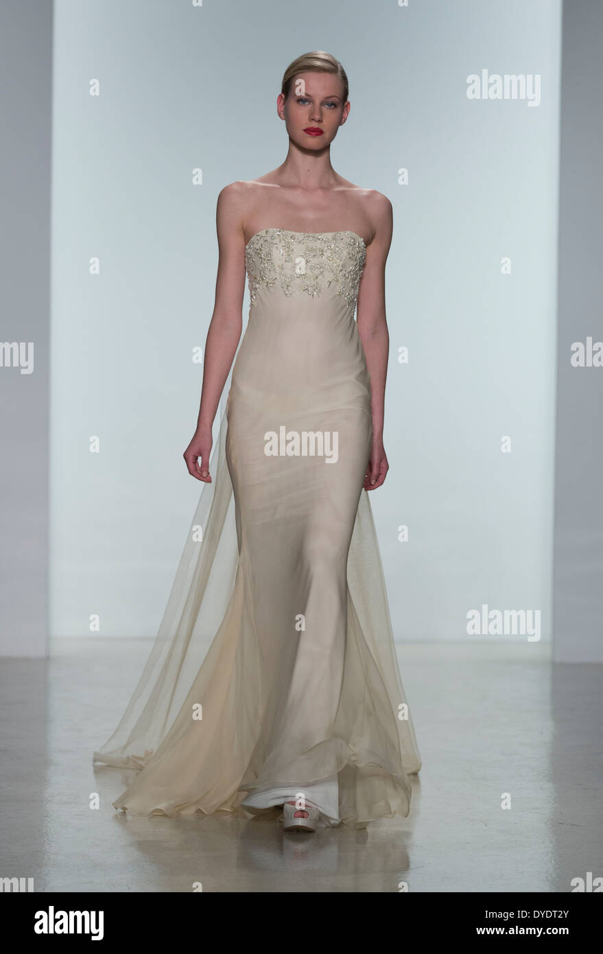 Model walks runway for Amsale collection by Amsale Aberra during ...
