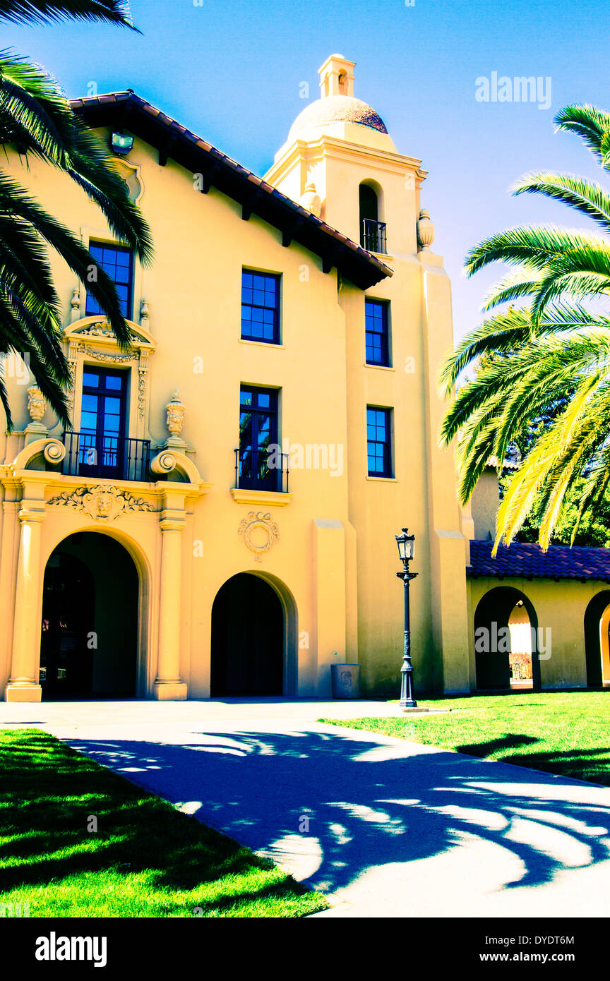 Stylized image of Old Union Building with shadow of palm tree on Stanford University campus - Stock Image