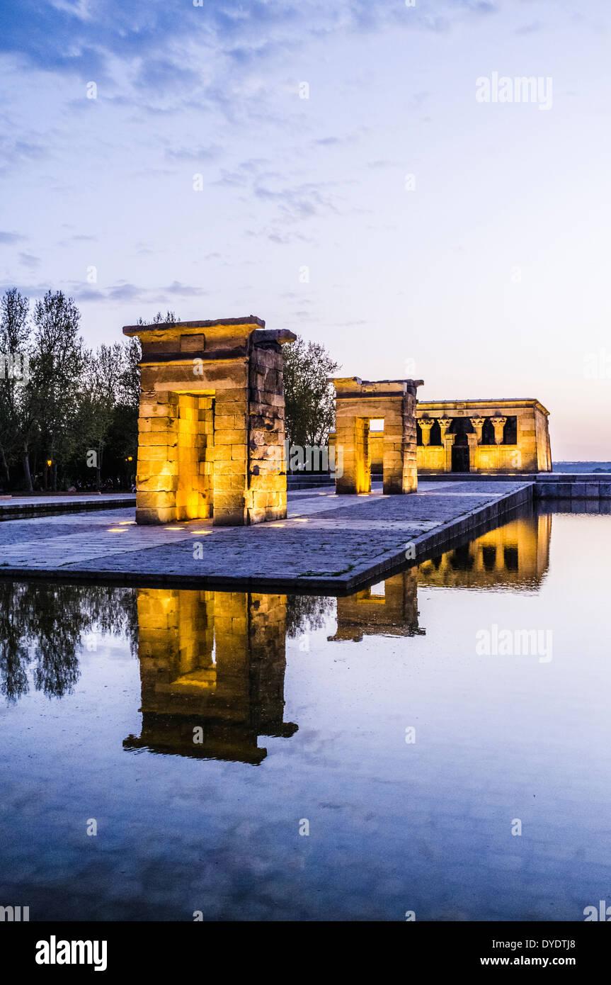 Temple of Debod at dusk. Parque del Oeste, Madrid Spain - Stock Image