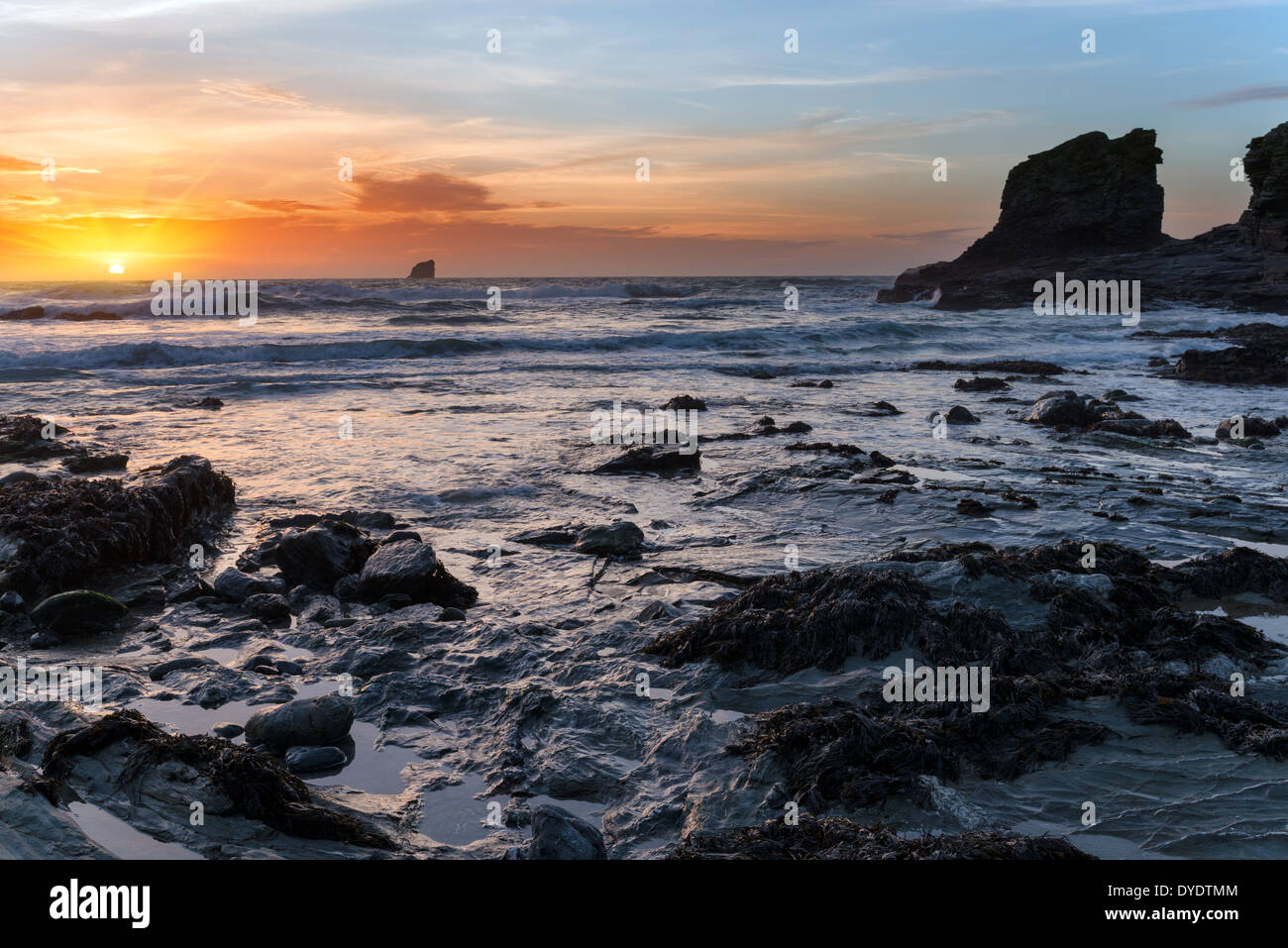 Sunset at Trevellas Coombe beach at St Agnes in Cornwall - Stock Image