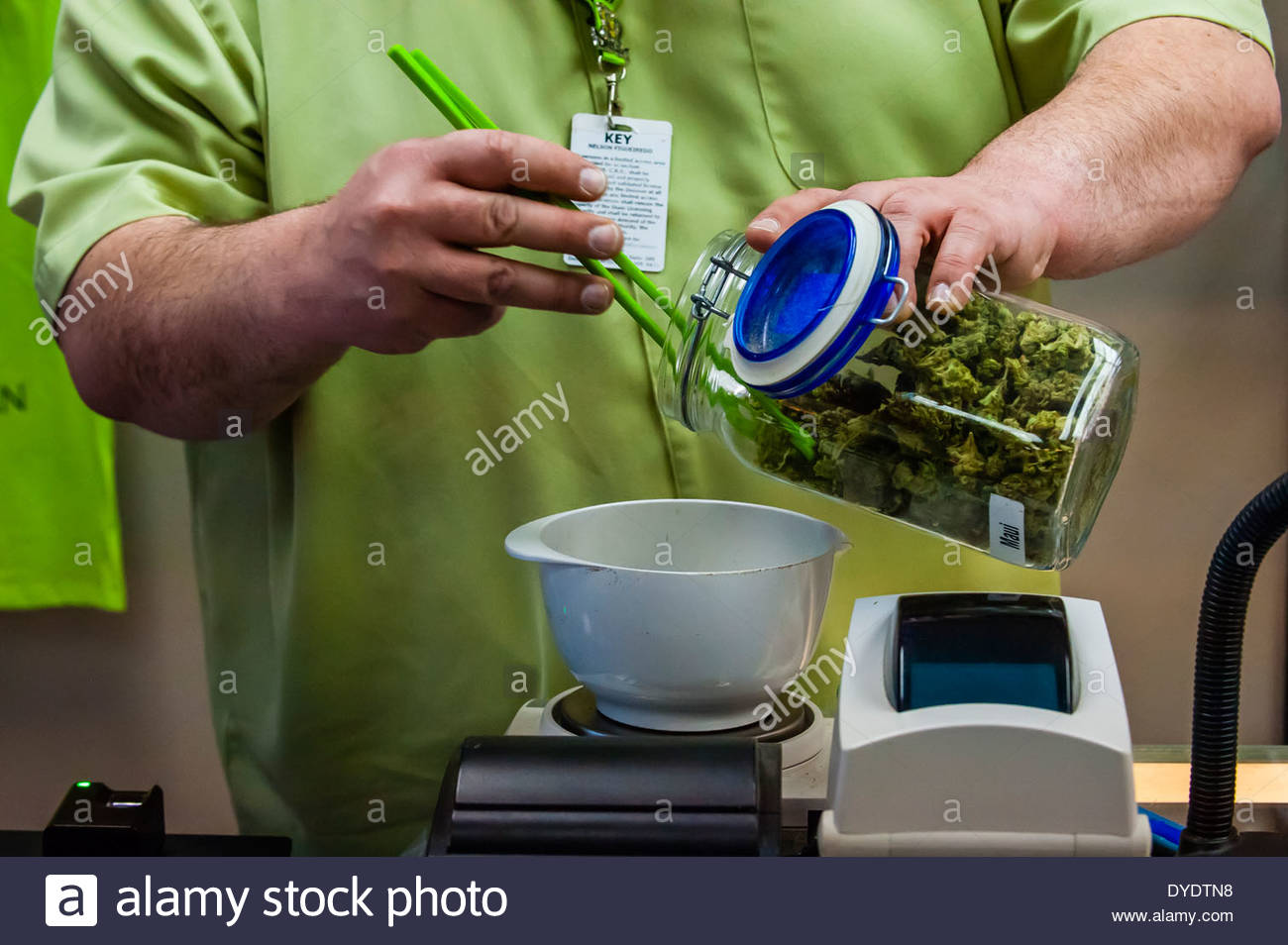 Medicinal sales counter, Medicine Man Denver is the single largest medical and recreational marijuana dispensary in Denver Colo. - Stock Image