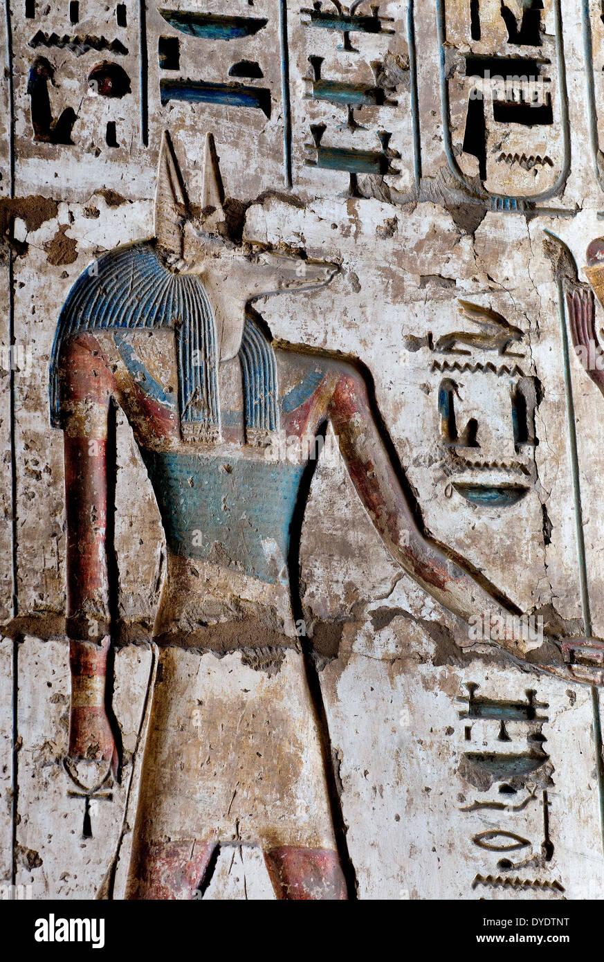 Giant Anubis Statues Ancient Egypt Stock Photos & Giant