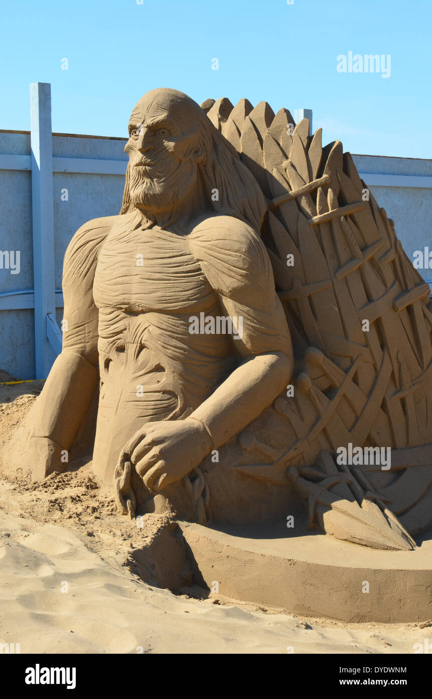Weston Super Mare, UK. 15th April 2014. Theme once apon a time.Game of Thrones. All done in sand at the Sand Sculpture festival on the sea front at Weston Super mare which opens this Good Friday. Credit:  Robert Timoney/Alamy Live News - Stock Image