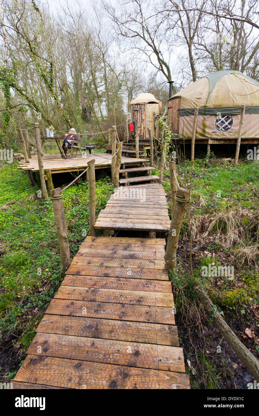 The yurt 'Coracle' at the luxury glamping site Crafty Camping at Holditch, Dorset UK - Stock Image