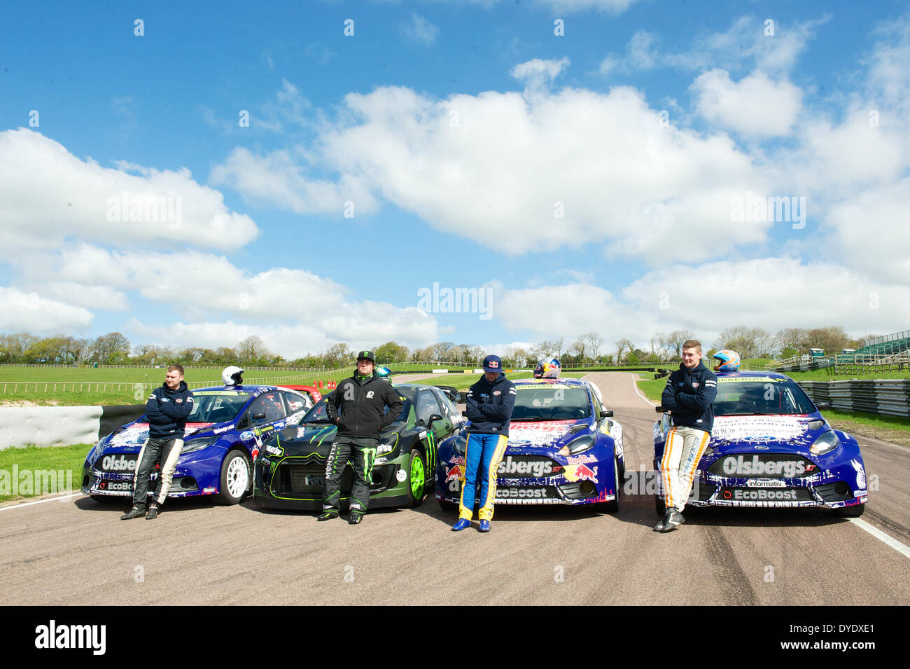 Drivers and cars pose for the media at the launch of the World Rally ...