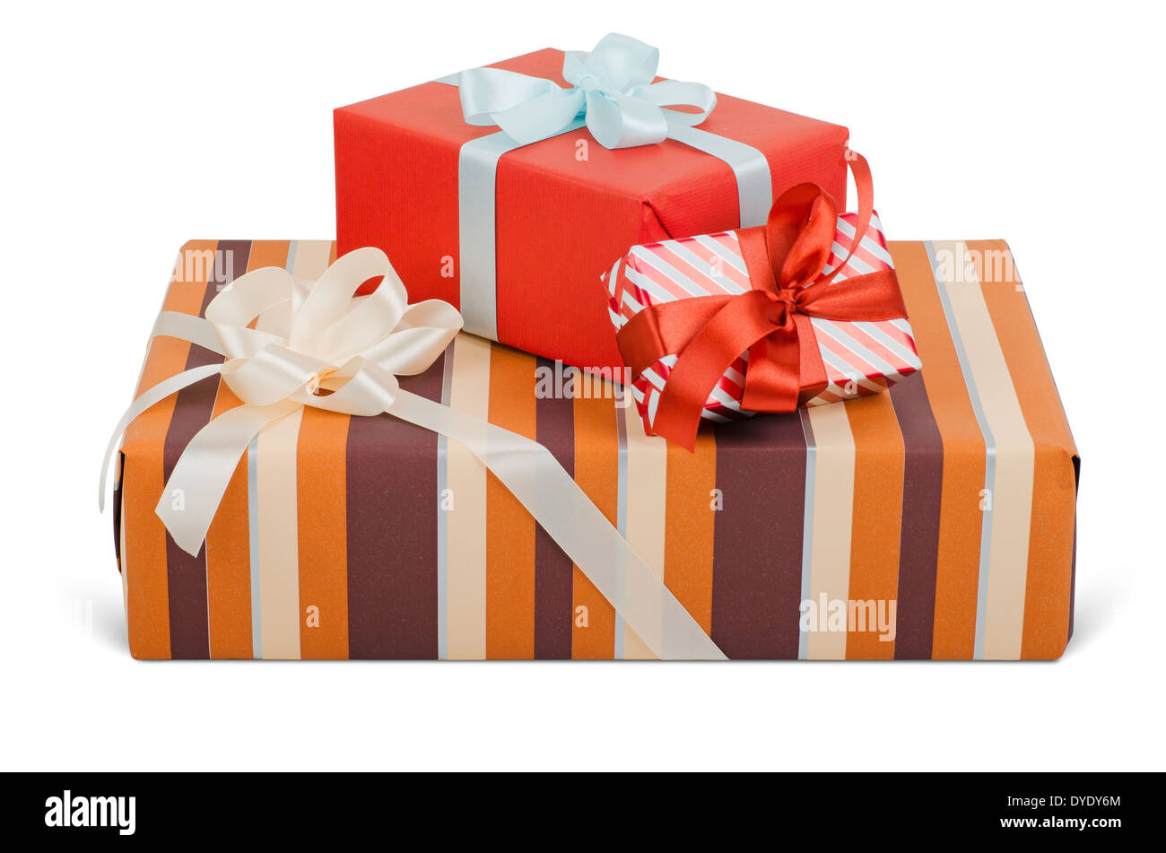 Beautiful gift boxes with bows. isolated on white. Objects with Clipping Paths - Stock Image