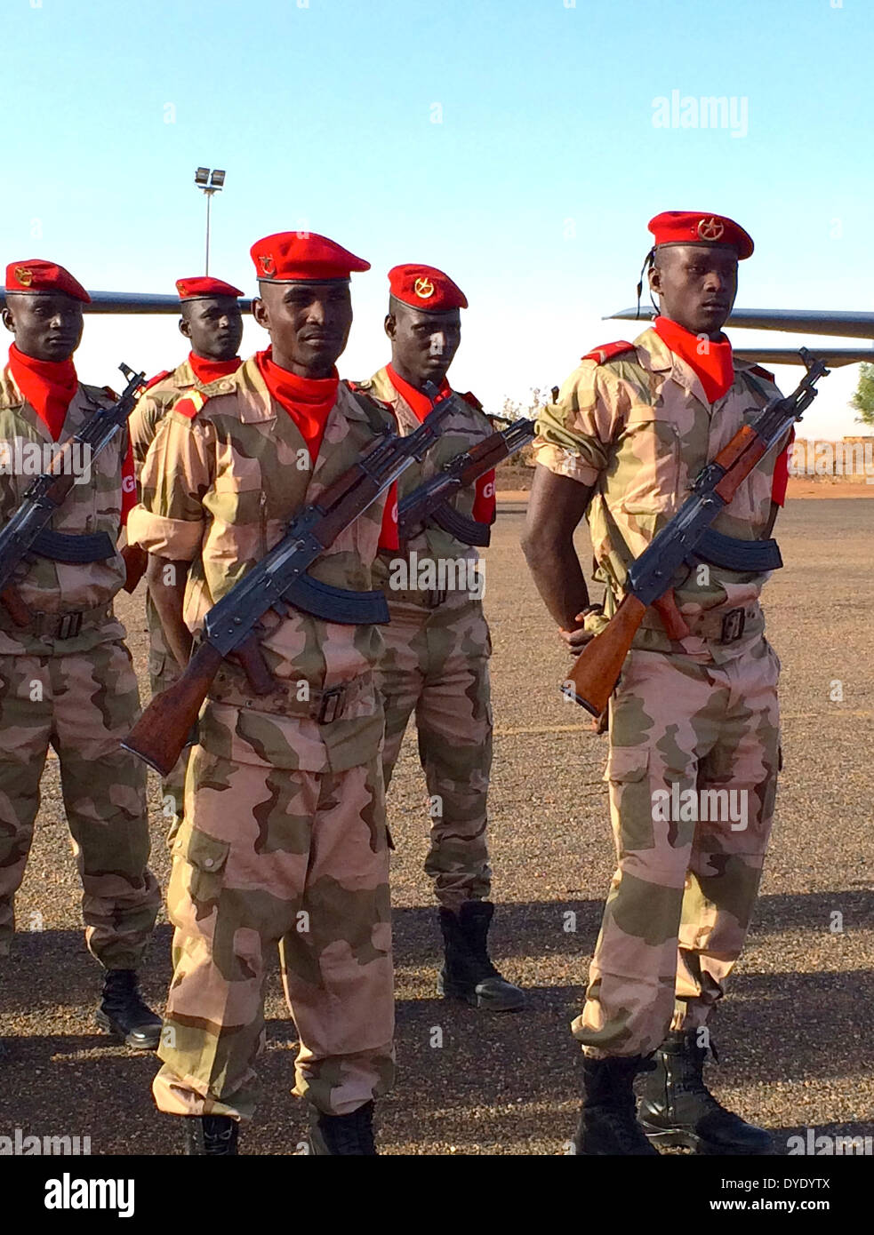 Nigerian troops in dress uniforms during the closing ceremony for joint exercise Flintlock 2014 March 9, 2014 in Niamey, Niger. - Stock Image
