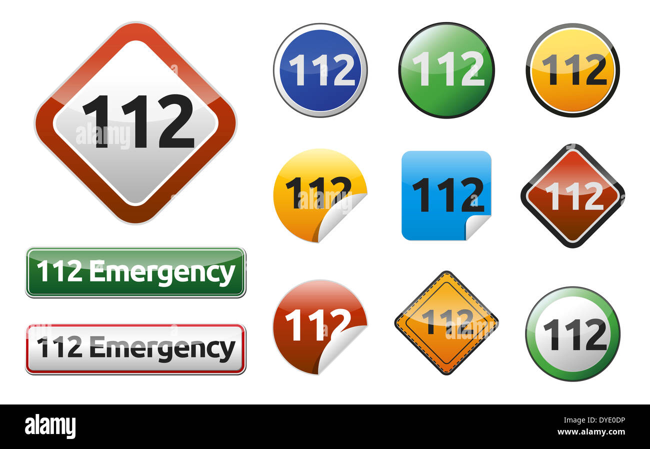 Emergency call 112 isolated button, sign set - collection. - Stock Image