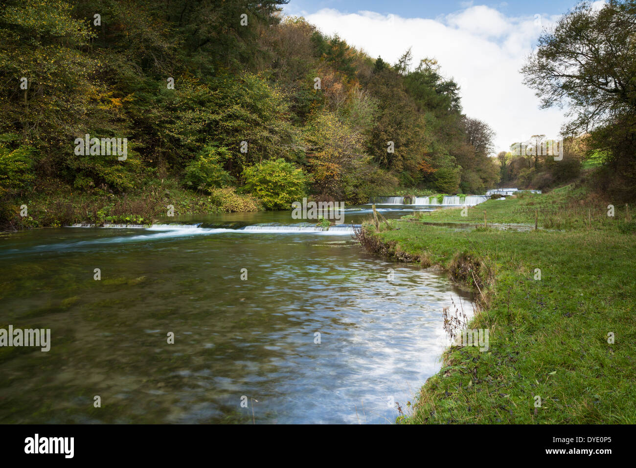 The gentle cascades on the River Lathkill in Lathkill Dale near Over Haddon, Derbyshire, Peak District National Stock Photo