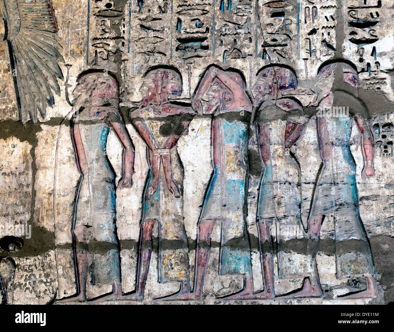 Temple of Ramses III (1198-1167 b.C. – XX° Dyn.) at Medinet Habu: reliefs on the columns in the first courtyard.Won enemies. - Stock Image