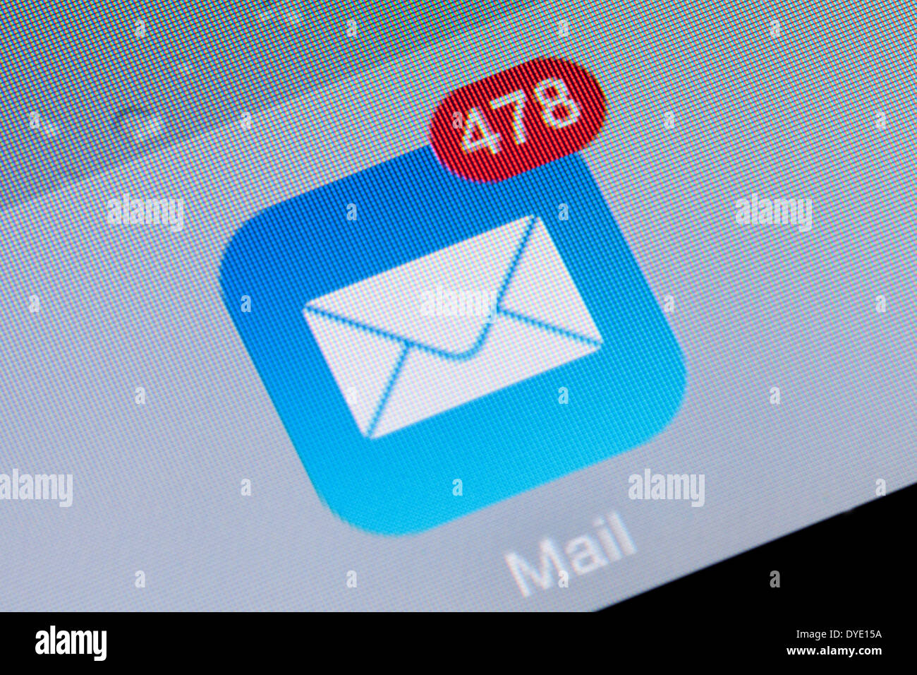 Close up of an e mail app icon logo inbox on an iPad, UK - Stock Image