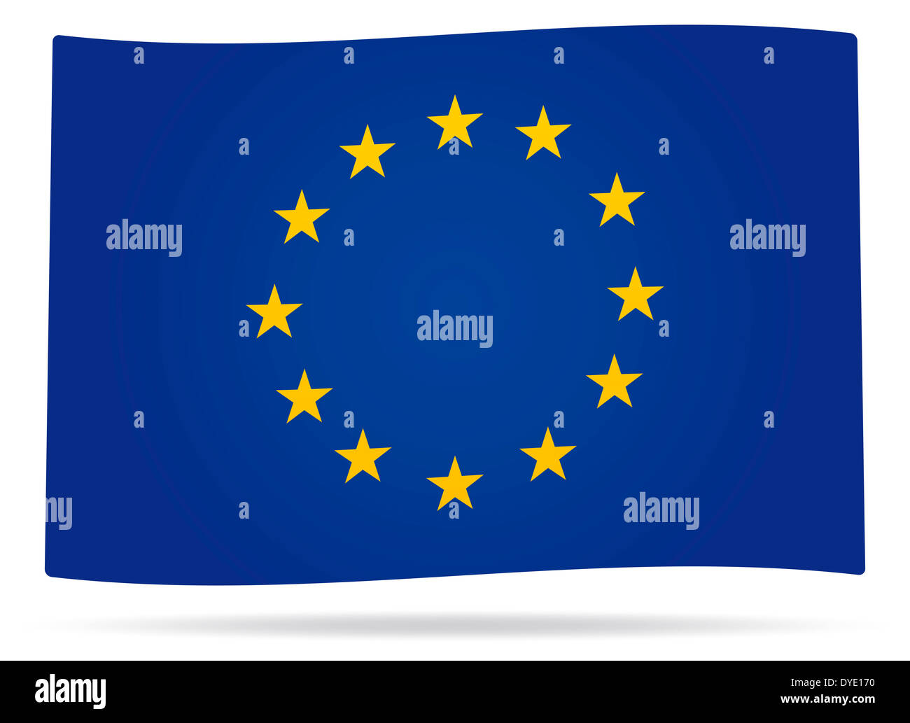 Waved Europe union flag with shadow - Stock Image