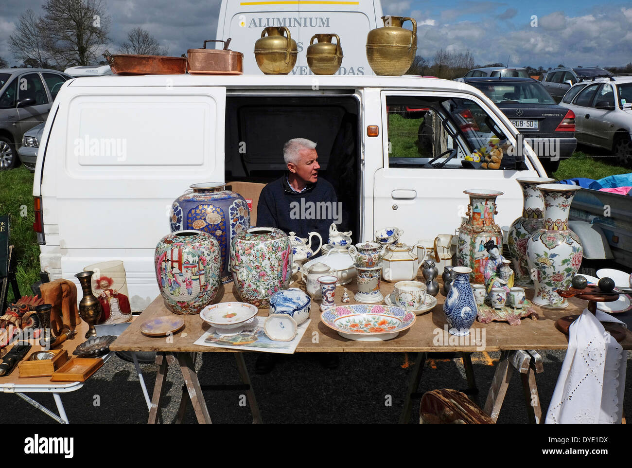 french street car boot flea market, normandy, france - Stock Image