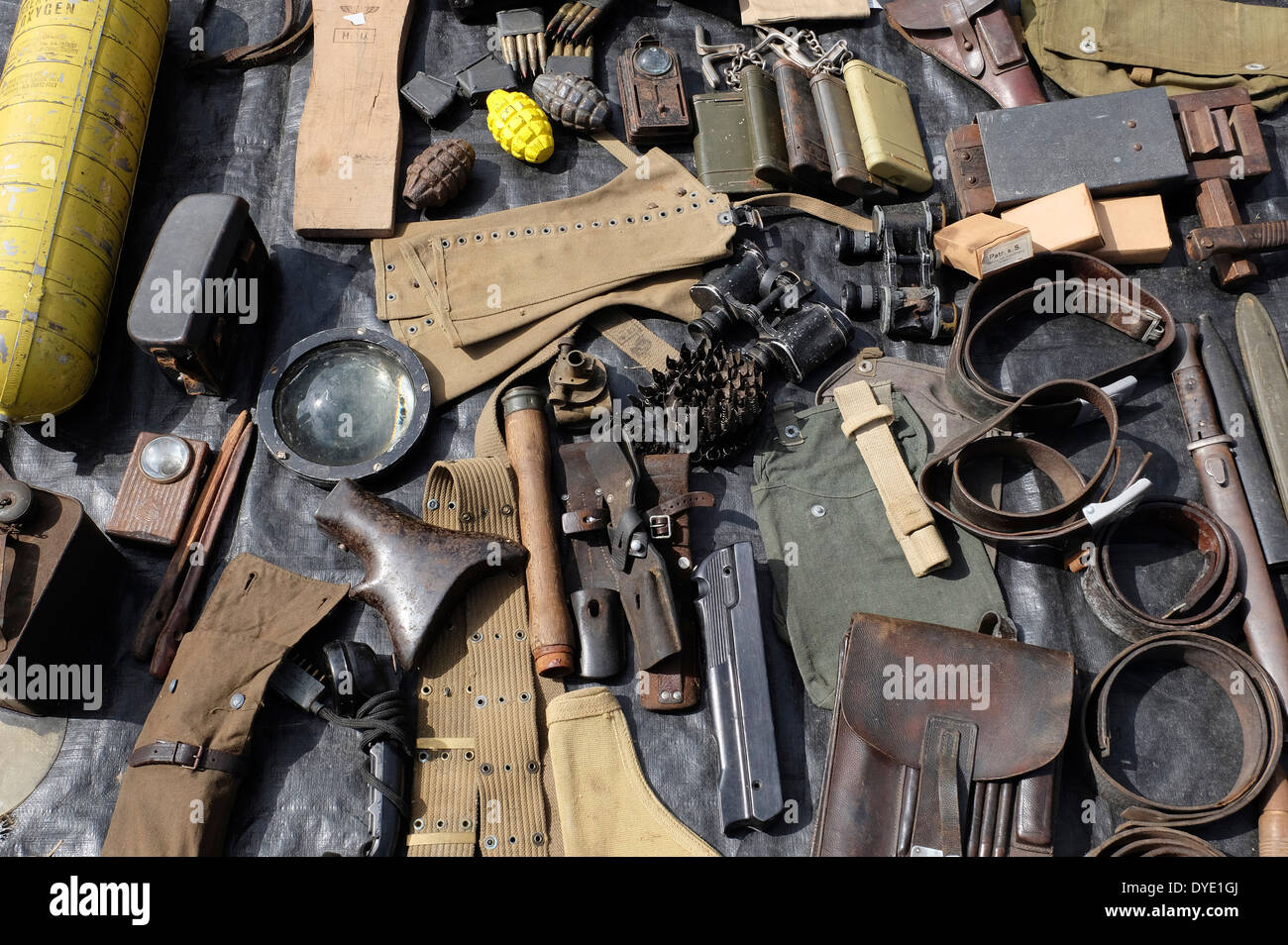military memorabilia on market stall, normandy, france - Stock Image