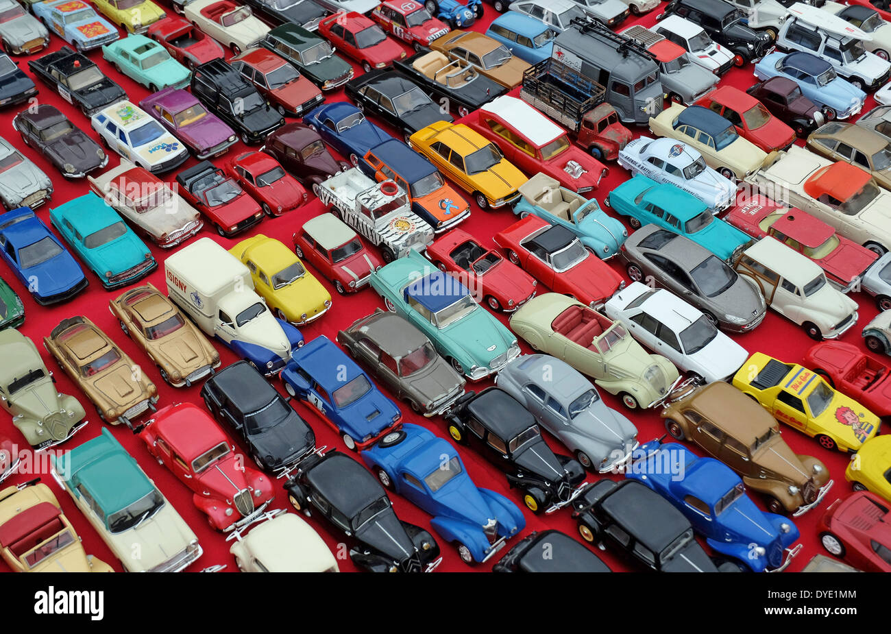toy cars on french flea market car boot stall, normandy, france - Stock Image