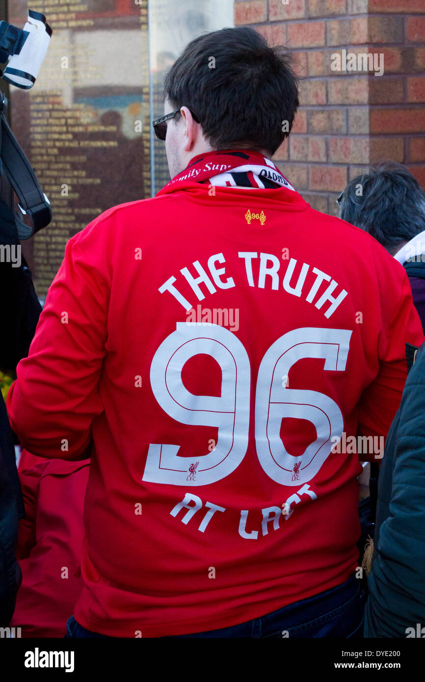 pretty nice 1d097 40479 Liverpool, UK. 15th April 2014. A fan wearing a 'The Truth ...
