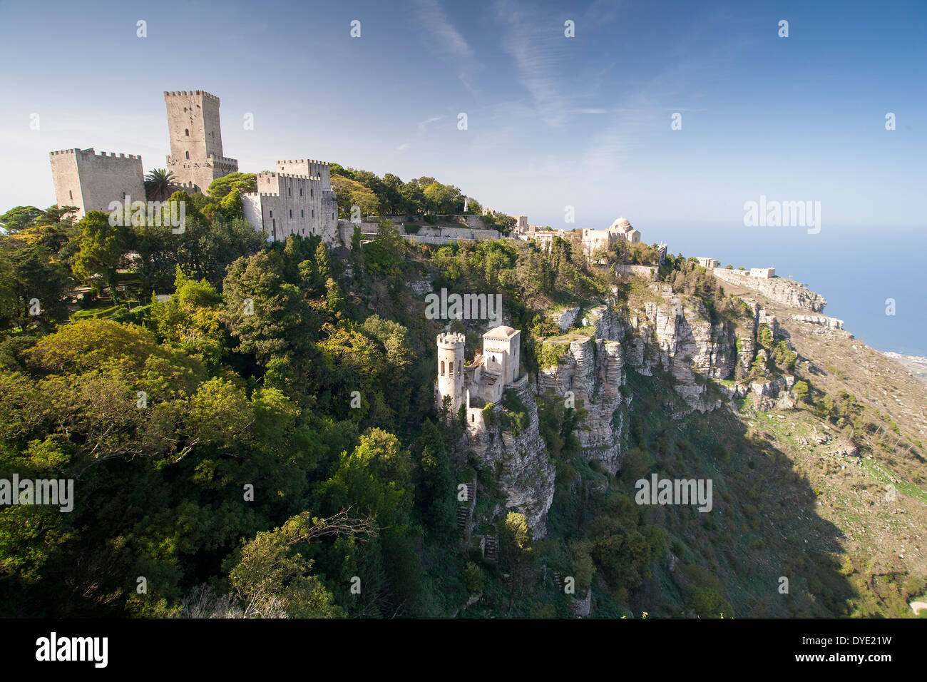 The castle at Erice in Sicily, Italy. - Stock Image