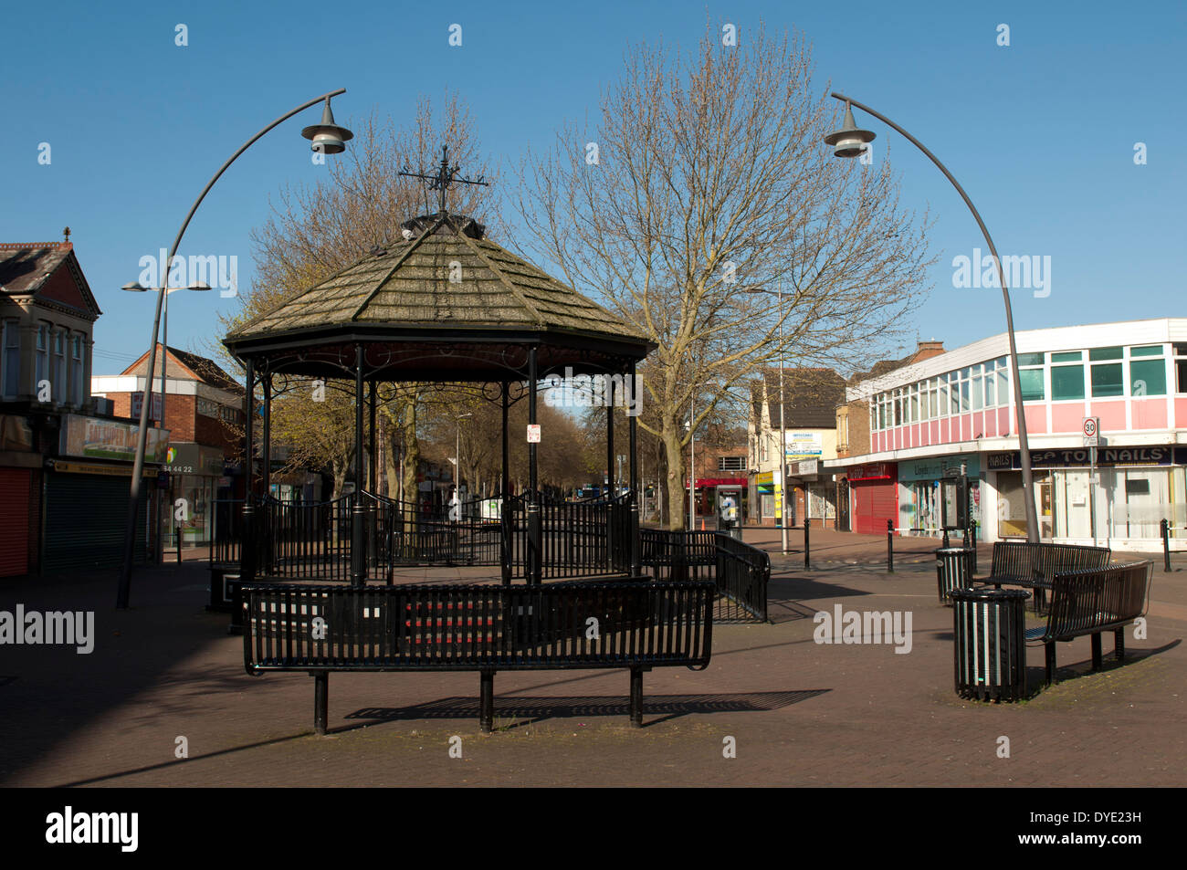 The bandstand and Queensway, Bletchley, Buckinghamshire, England, UK - Stock Image