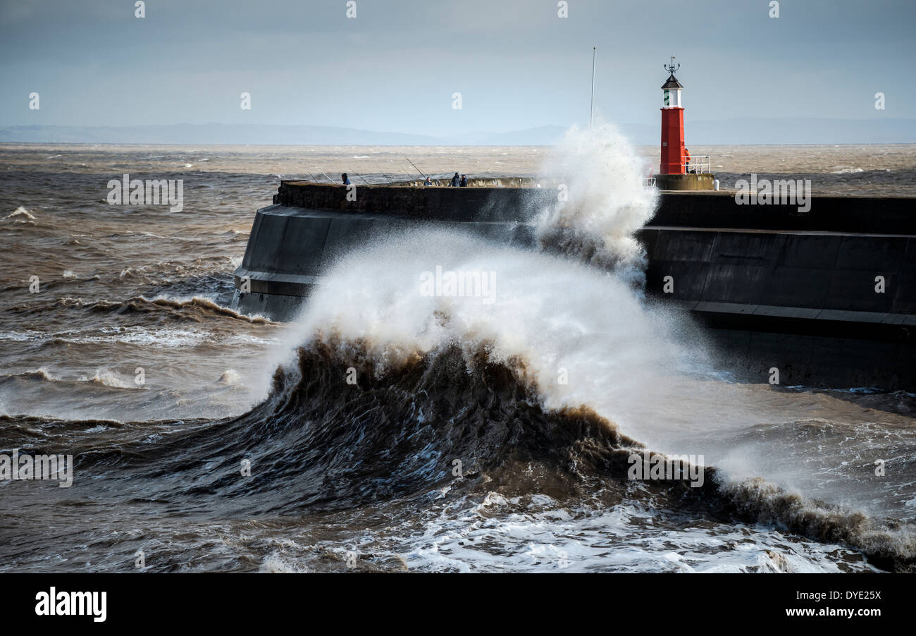 stormy seas at Watchet harbor - Stock Image