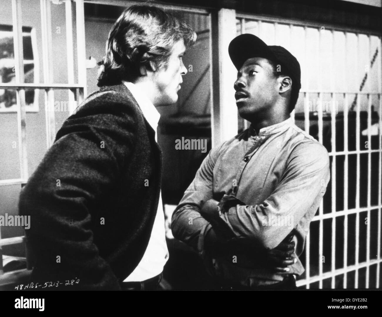 Eddie Murphy and Nick Nolte, on-set of the Film, '48 Hrs.', 1982 - Stock Image