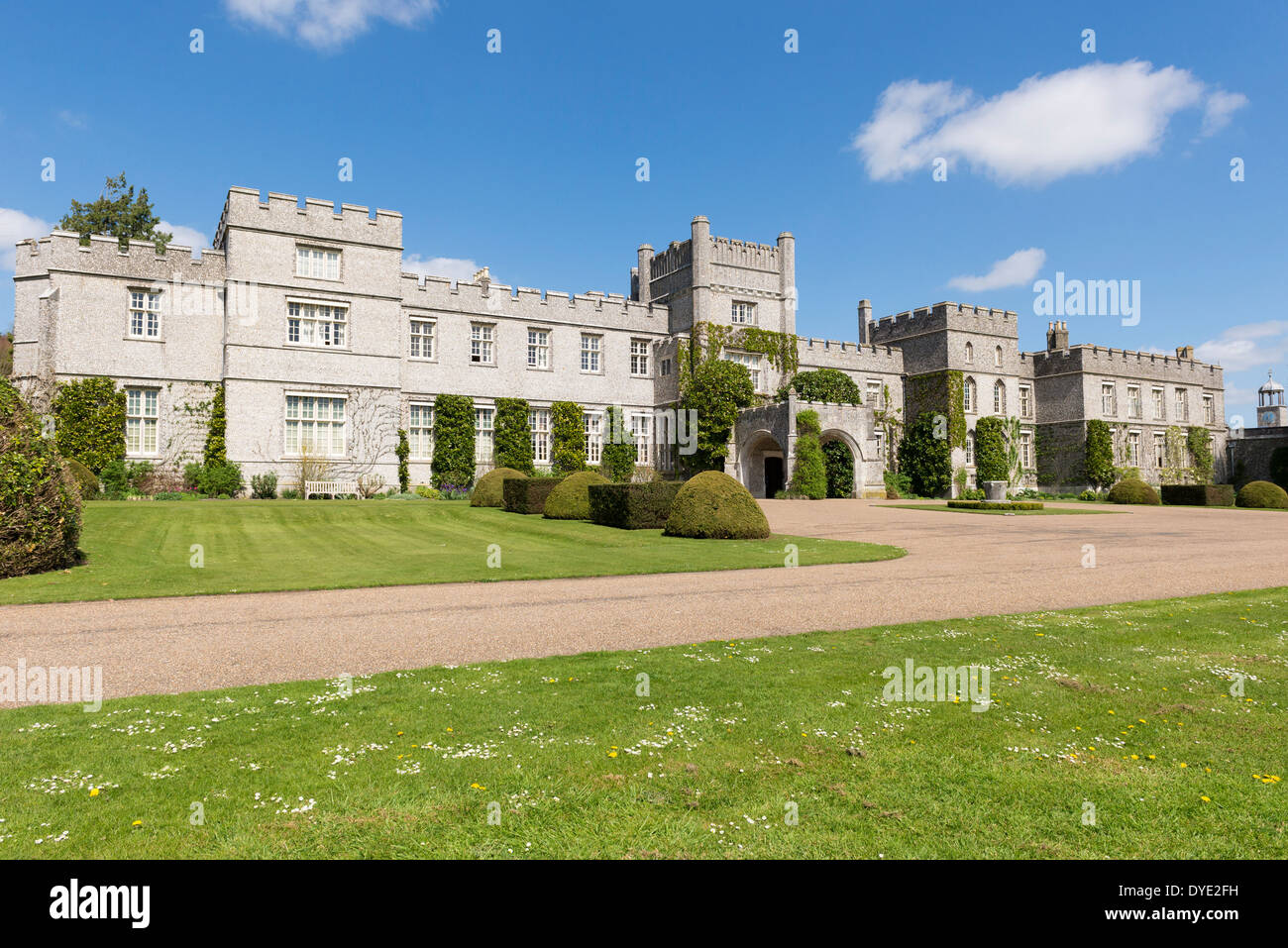 West Dean college frontage, the college sits amongst the south downs in west sussex UK. - Stock Image