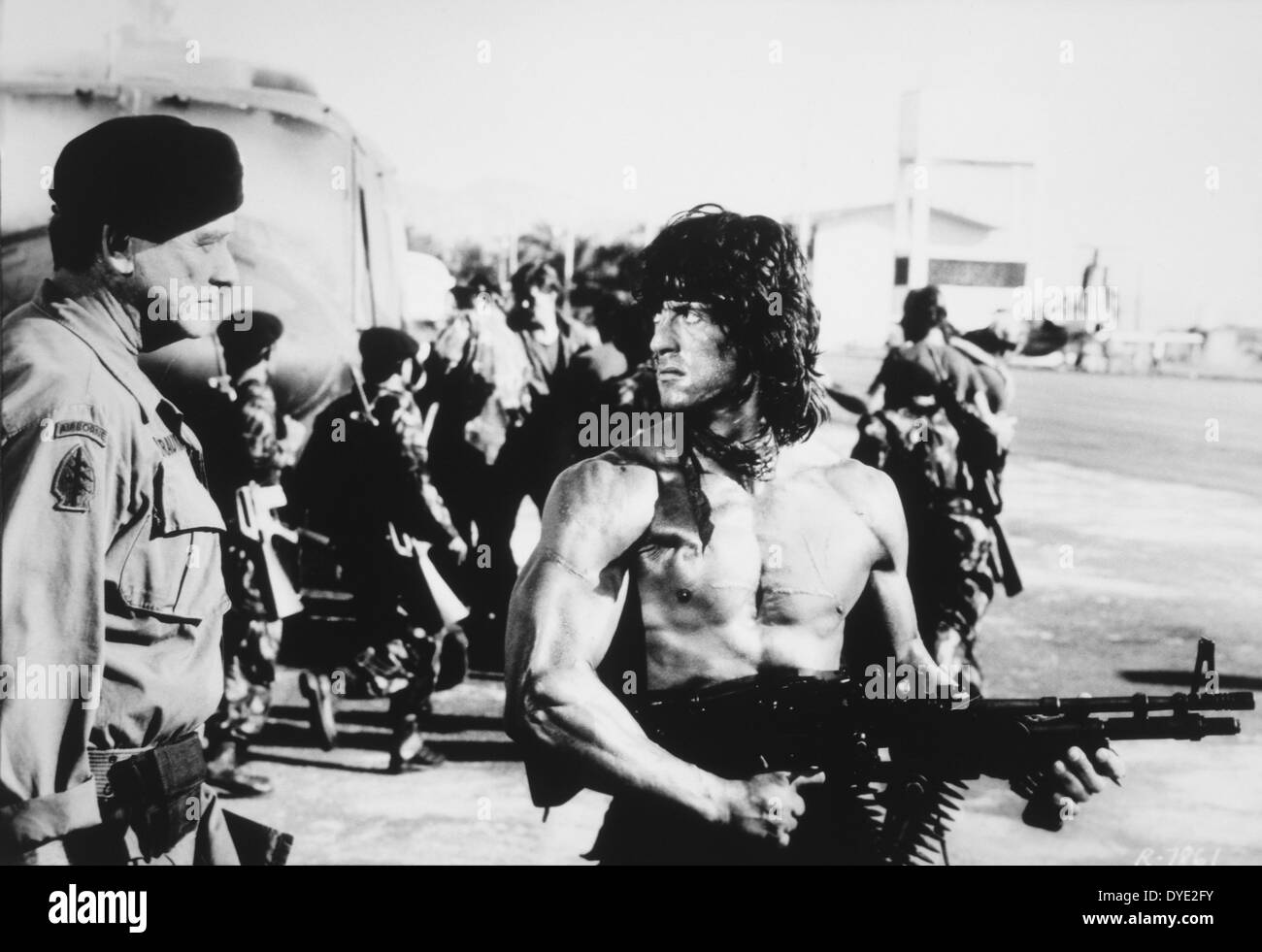 Richard Crenna and Sylvester Stallone, on-set of the Film, 'Rambo: First Blood Part II', 1985 - Stock Image