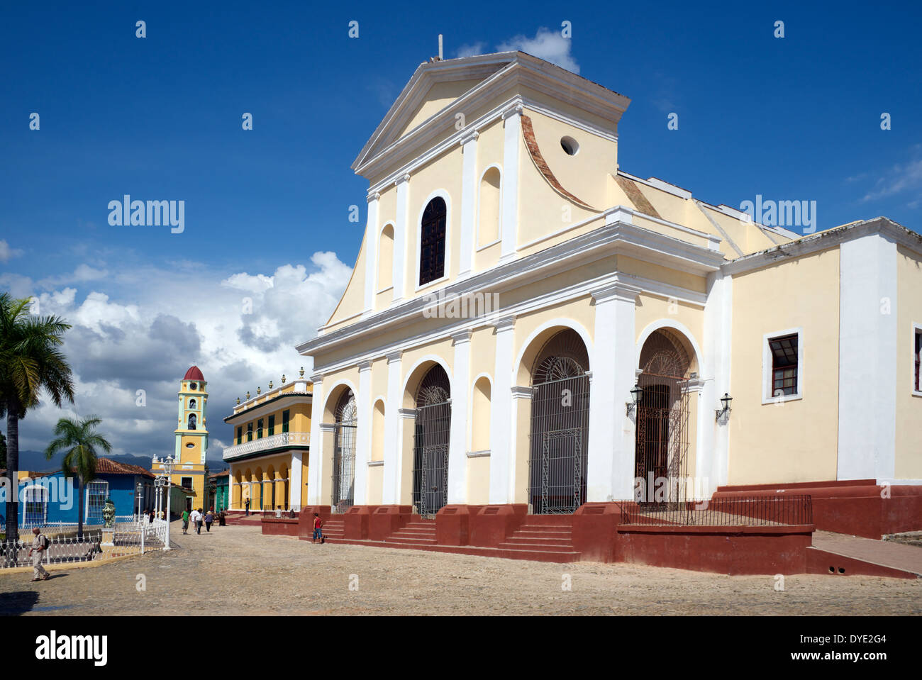 Plaza Major with Iglesia Parroquial de la Santisima historic centre Trinidad Sancti Spiritus Province Cuba - Stock Image