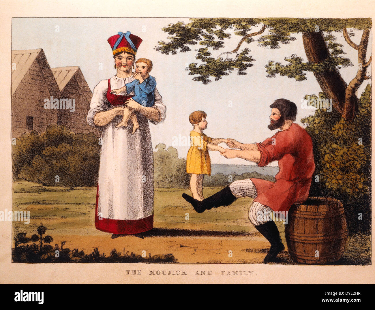 The Moujick and his Family, from Pinkerton's Russia, Hand-Colored Engraving, 1833 Stock Photo
