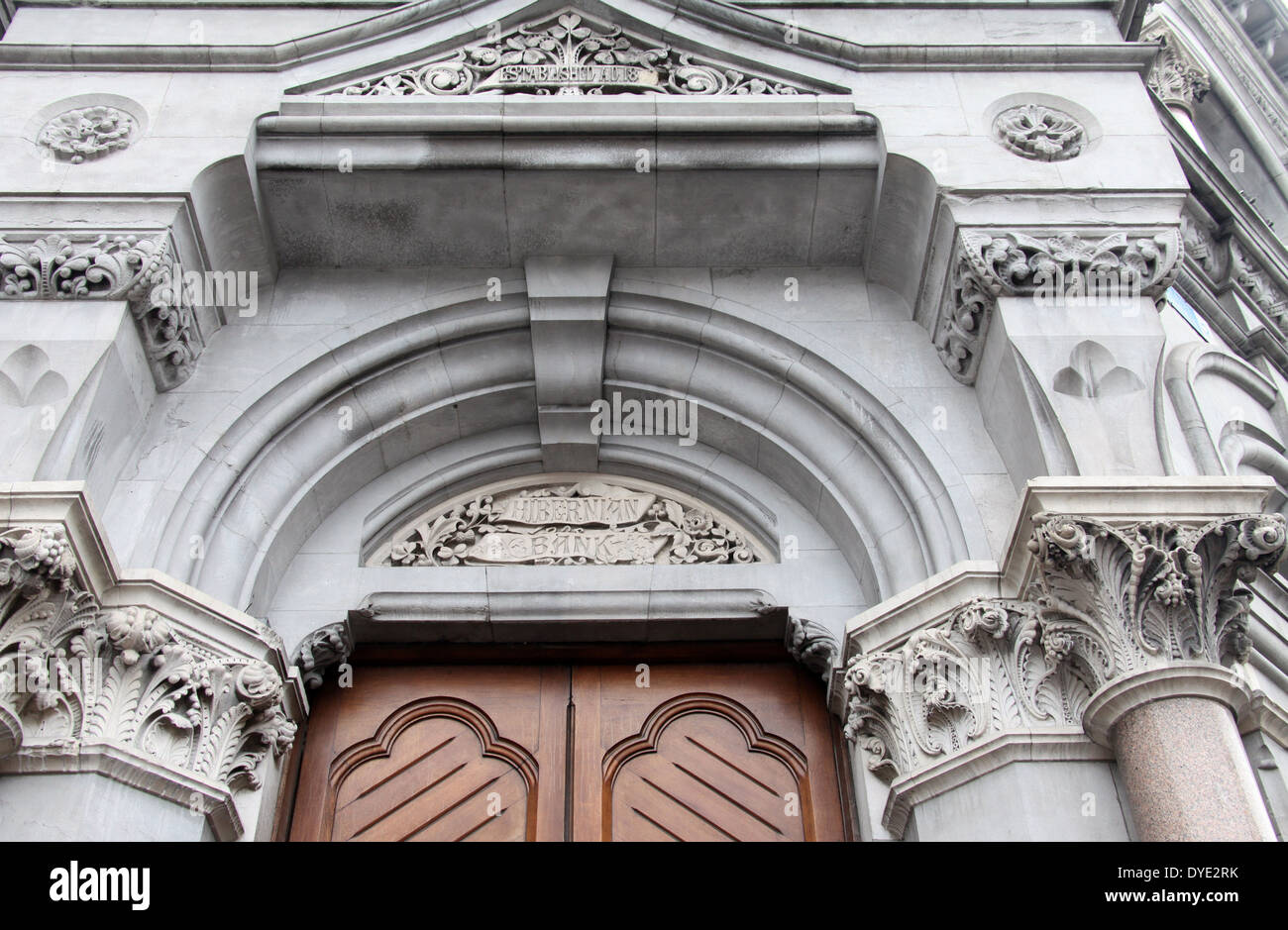 Hibernian Bank architectural detail which is over the door of the former National Irish Bank in Dublin Stock Photo