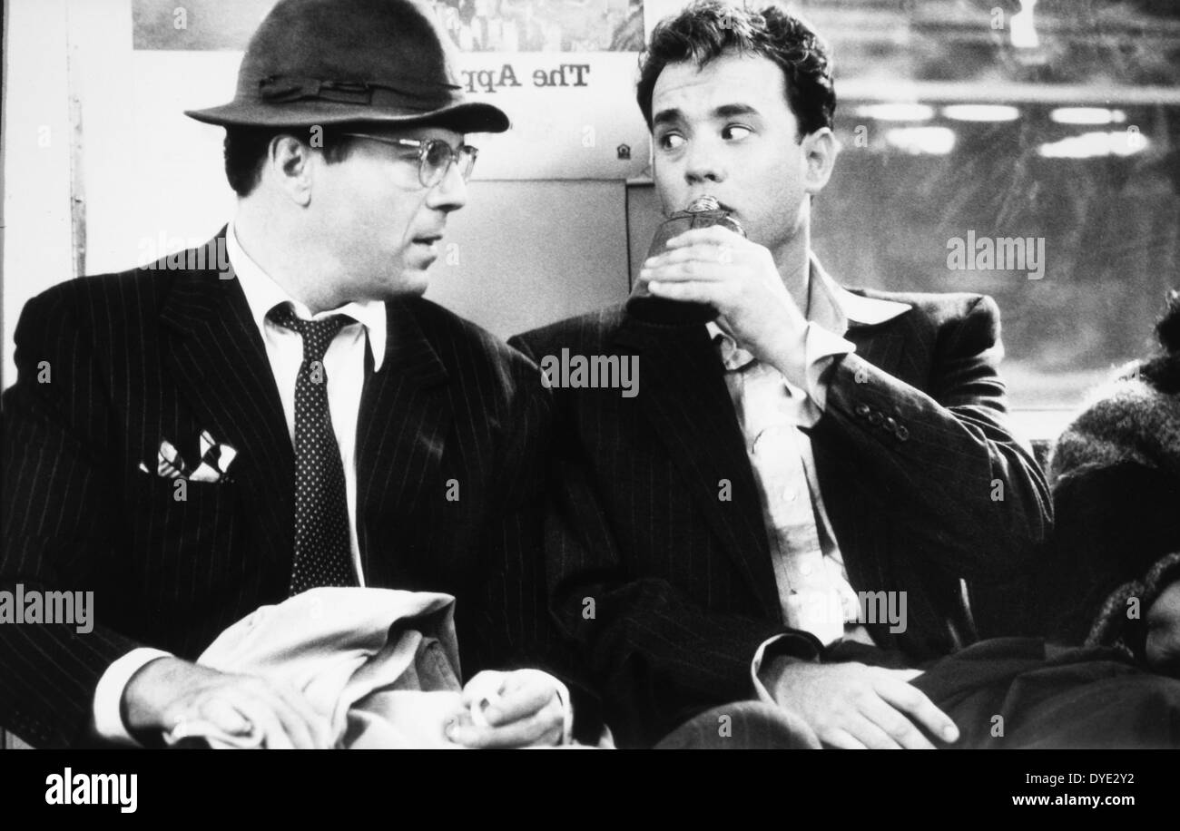 Tom Hanks and Bruce Willis, on-set of the Film, 'The Bonfire of the Vanities', 1990 - Stock Image