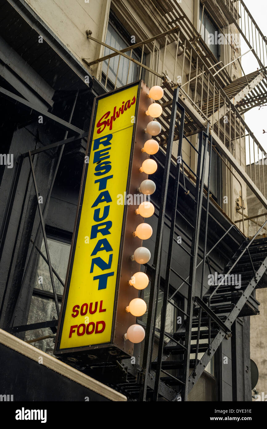 Sylvia's Restaurant of Harlem, legendary soul food restaurant at 328 Lenox Avenue in Harlem, New York City, - Stock Image