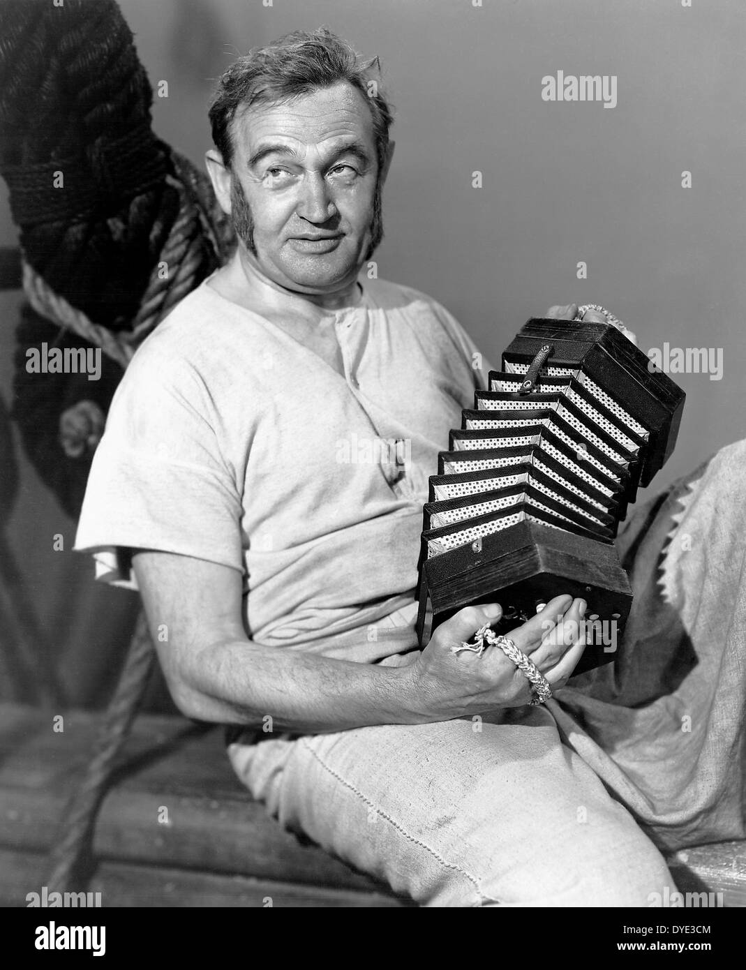 Barry Fitzgerald, on-set of the Film, 'Two Years Before the Mast', 1946 - Stock Image