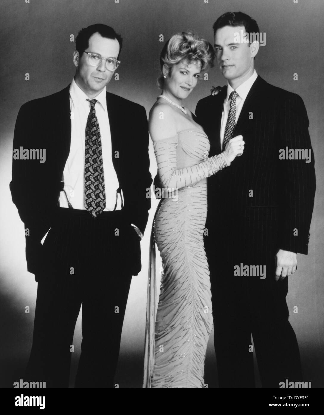 Tom Hanks, Melanie Griffith and Bruce Willis, on-set of the Film, 'The Bonfire of the Vanities', 1990 - Stock Image