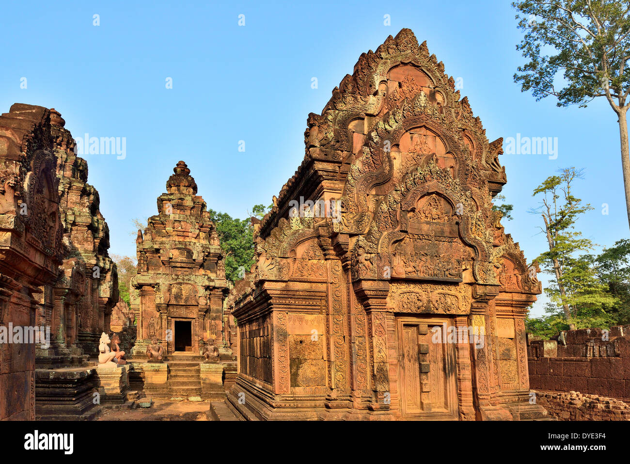 The North tower of the central sanctuary cluster of Banteay Srei ,known for its intricacy of the bas relief carvings on walls - Stock Image
