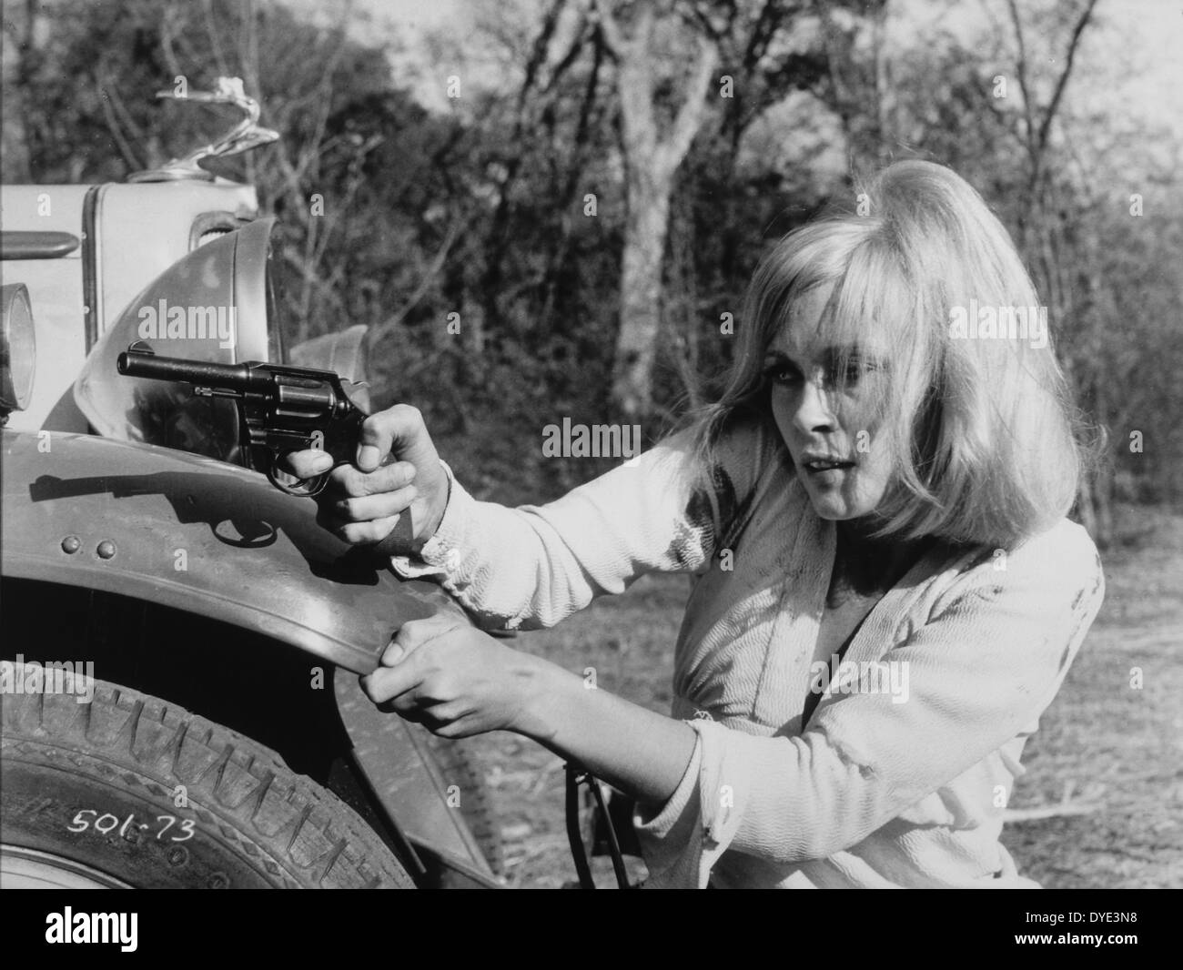 Faye Dunaway, on-set of the Film, 'Bonnie and Clyde', 1967 - Stock Image