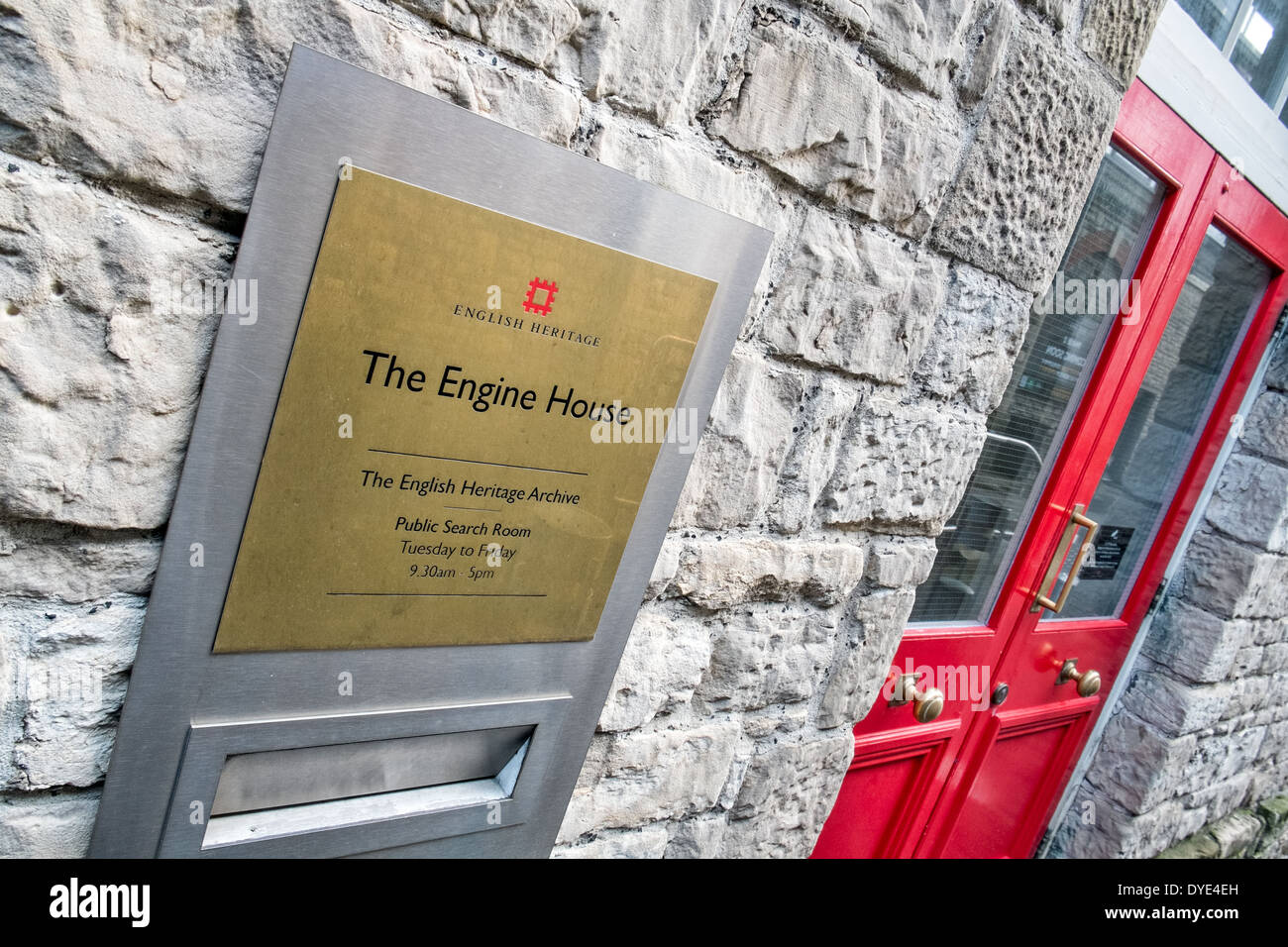 The sign & the entrance to The Engine House, the English Heritage Archive & office at Swindon - Stock Image