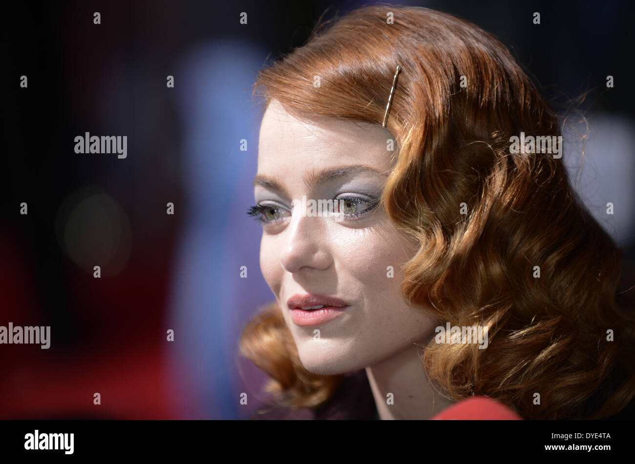BERLIN, GERMANY, 15th April, 2014. Emma Stone attends the 'The Amazing Spider-Man 2' Premiere in Sony Centre, Potsdamer Platz on April 15th, 2014 in Berlin, Germany. Credit:  Janne Tervonen/Alamy Live News - Stock Image