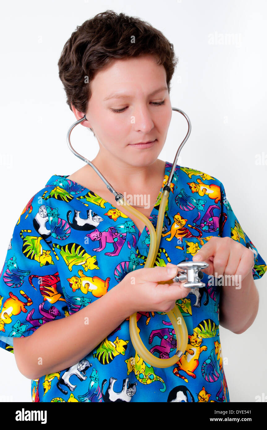 Veterinarian woman with stethoscope - Stock Image