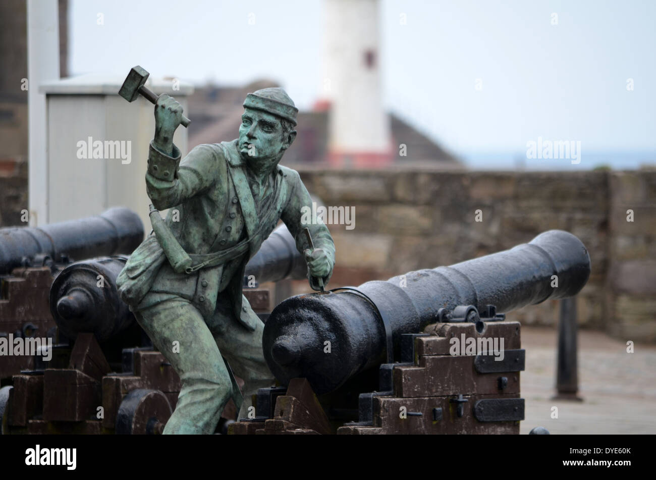Statue at Whitehaven commemorating the 1778 raid by John Paul Jones. His crew spiked the guns on the harbour Stock Photo