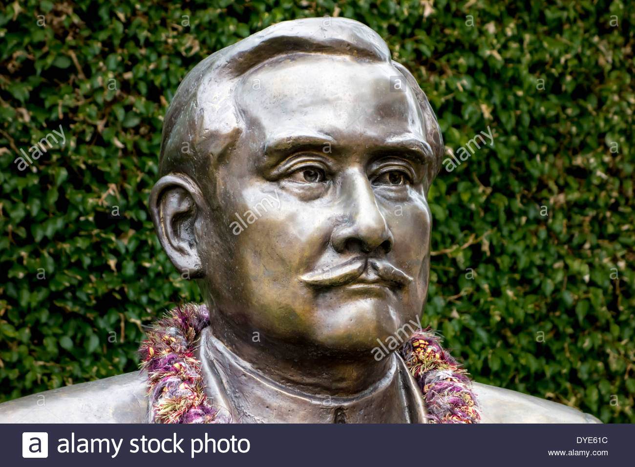 Statue of Dr Sun Yat-sen, the father of the Chinese Republic, at Lahaina on the island of Maui in the State of Hawaii USA - Stock Image