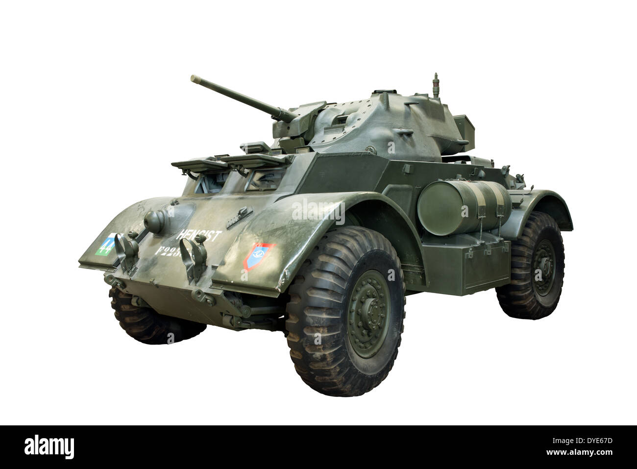 A cut out of an American Staghound T17 E1 armoured car supplied to WW2 British forces - Stock Image