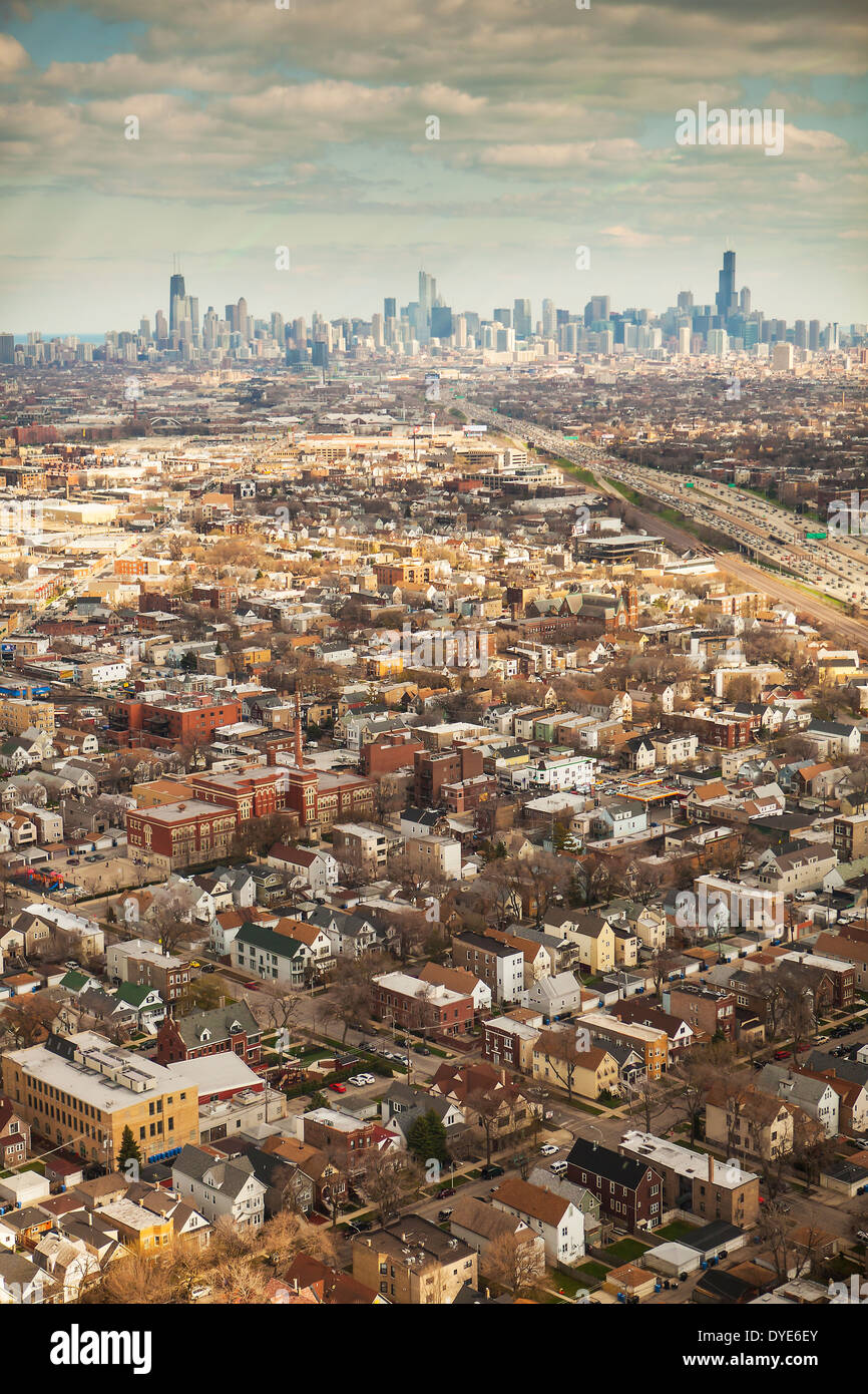 Aerial view of the suburbs and city of Chicago, Illinois United States, taken from a helicopter - Stock Image