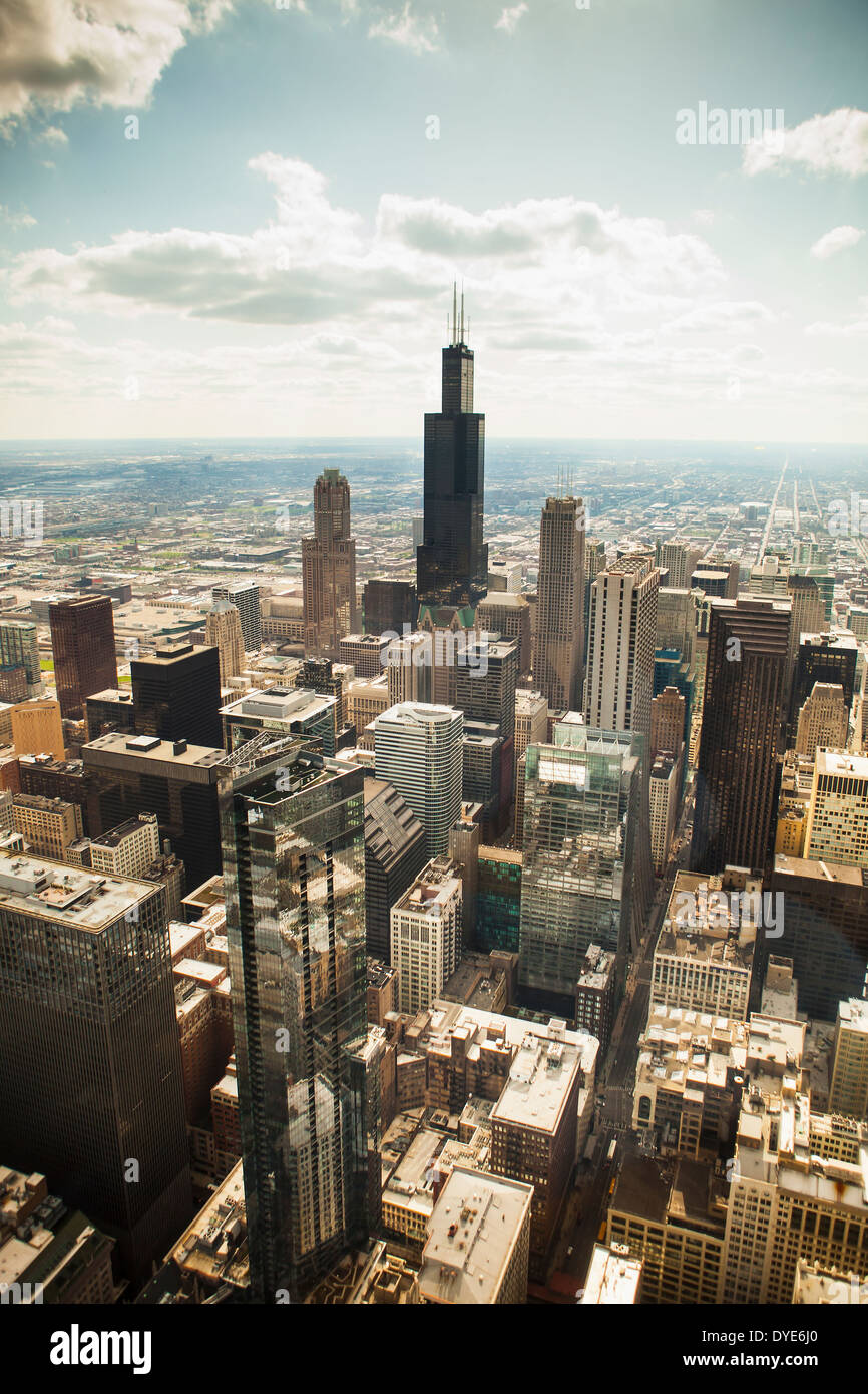 Aerial view of the city of Chicago, Illinois United States, taken from a helicopter - Stock Image