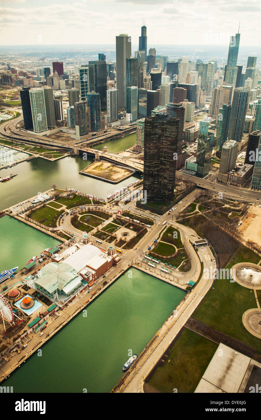 Aerial view of the city of Chicago and Navy Pier, Illinois United States, taken from a helicopter - Stock Image