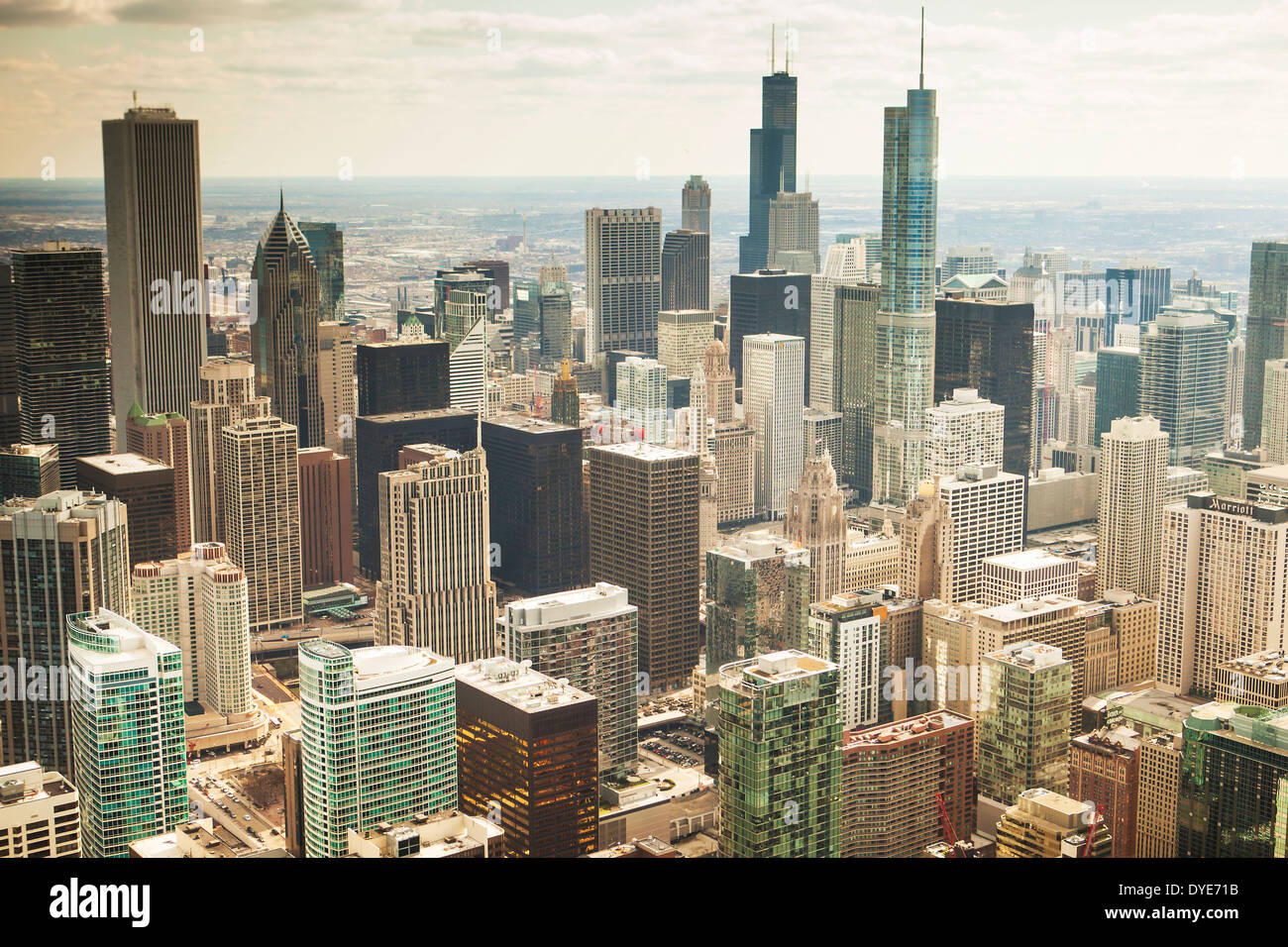 Aerial view of the city of Chicago, Illinois, United States, taken from a helicopter Stock Photo