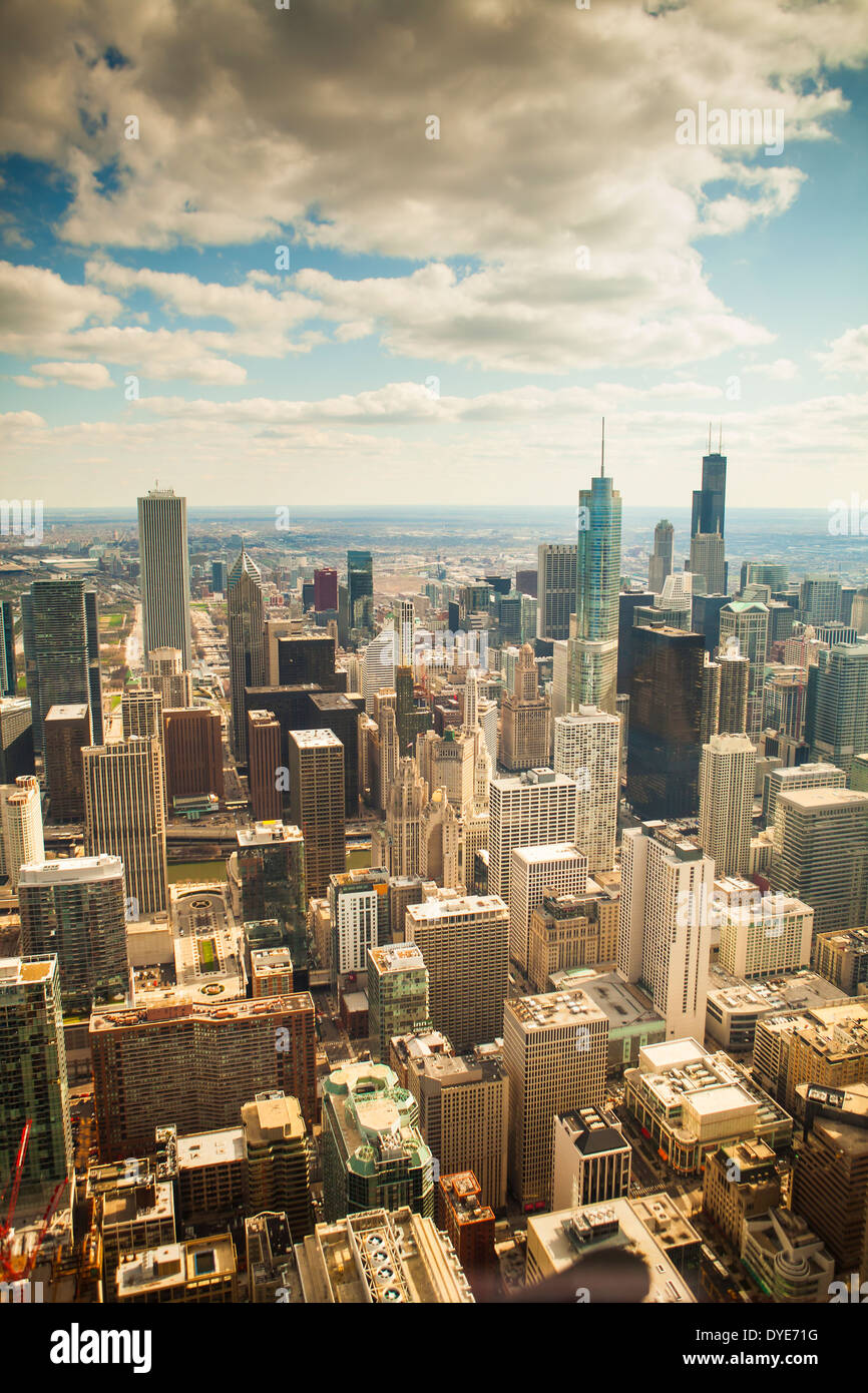 Aerial view of the city of Chicago, Illinois, United States, taken from a helicopter - Stock Image
